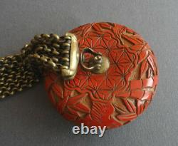 1850s Antique Japanese Sagemono, rare red laquer wood ojime (netsuke)