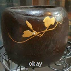 18 cm Japanese Wooden Fire Bowl Brazier Hibachi Ipomoea nil Antique Rare Used