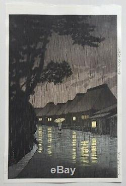 1932 Original Kawase Hasui Watanabe E Seal Rain Japanese Woodblock Print RARE