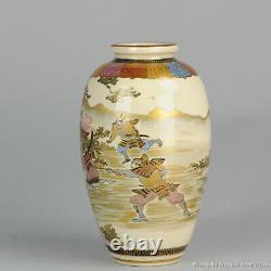 19th c Meiji period Japanese Porcelain Satsuma Vase Japan Warriors Rare