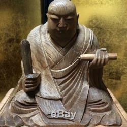 20 cm Japanese Buddhist Statues Wooden Sculpture Antique Nichiren Very Rare F/S