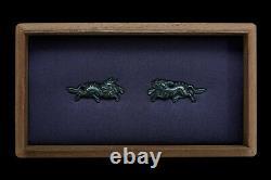 2 pairs of MENUKI. Rare SHAKUDU 17th century with running KIRIN Ex CHRISTIE'S