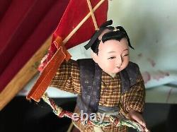 ANTIQUE 6 UNIQUE KIMEKOMI RARE JAPANESE ICHIMATSU GOFUNSILK TUCK DOLL with KITE