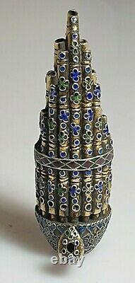 A Rare Edo Period Miniature Silver Gilt & Enamel Sh (Mouth Organ) Okimono