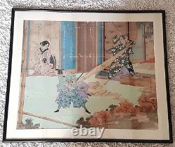 A Stunning Rare Edo Period Ink & watercolour Painting Of Two Samurai fighting