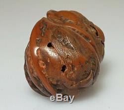 A Suberb Rare Edo Period Carved Double Walnut Shunga Netsuke. Okame & Mushroom