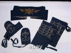 Ainu ethnic costume Matampushi Tekunpe embroidery Hachimaki Hokkaido rare K6444