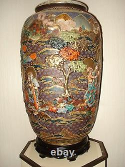 Amazing Huge Rare Satsuma Japanese Vase & STAND Gilt Gold Raised relief immortal