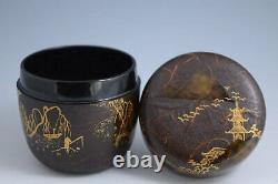 Amazing & Rare Japanese Lacquerware SANSUI Scenary Makie O-Natsume Tea Caddy 217