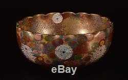 Amazing Work! Japanese Antique Satsuma Large Bowl Chrysanthemums Rare Mark Meiji