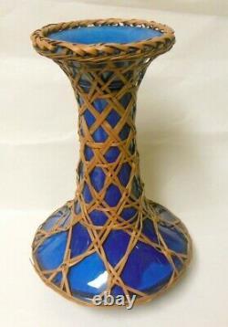 Antique AWAJI JAPAN Japanese Pottery VASE Bamboo Wicker Weaving RARE 11 1/2 h