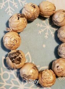 Antique Asian Japan Carved Beaded Bracelet Bone Ivory Color Nicely Detailed Rare