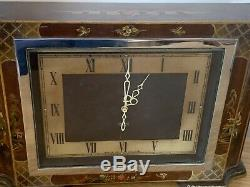 Antique Fabulously Rare Smiths London Japanese Lacquered Chinoiserie Clock