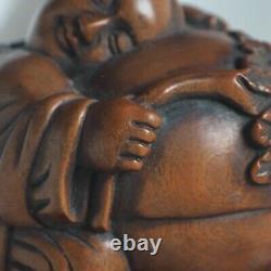 Antique Handcarved Signed Wood Netsuke Japan Boy Child Fruit Peach Asia Art Rare
