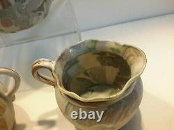 Antique Japanese Banko Ware Tapestry Miniature Tea Set PERFECT 19th C RARE