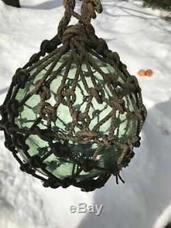 Antique Japanese Large Glass Fishing Float Buoy Ball Roped Net rare. Kwajalein