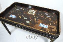 Antique Japanese Tea Tray Lacquer Table with Tile Inserts/Stand 19thC Rare