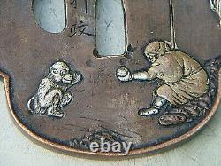 Antique Japanese Tsuba Bronze Mixed Metal Signed Monkey Signed Rare Piece