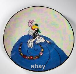 Antique Noritake Japanese Lusterware Figural Lady In Gown Porcelain Plate RARE