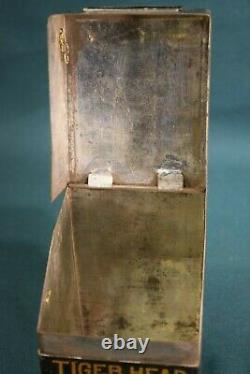 Antique Rare Japan Tin Tiger Head Chop Pan Fired Tea Can Japanese Art