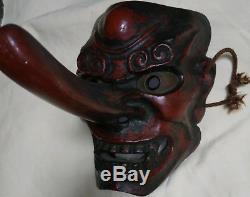 Antique TENGU Japanese wood carved Noh Mask kyogen Kabuki Rare Antique Mayoke