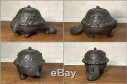 BI83 RARE Japanese Antique Bunbuku chagama censer # incense burner racoon dog