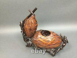 Beautiful Antique Japanese Ikebana (Flowers) Vase Basket Rare! Burl wood footed