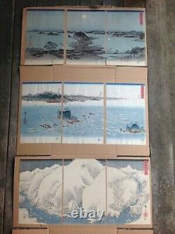 EXTREMELY RARE Complete set of Japanese woodblock print triptychs HIROSHIGE
