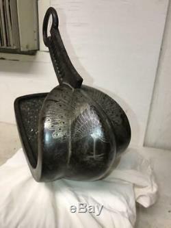 Early Japanese Samurai ABUMI Horse Stirrup EDO Silver IRON RARE Signed OLD ARMOR