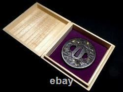 Edo period Japan antique Iron Maple Tsuba signed by Bushu Ju Masatsune Box rare