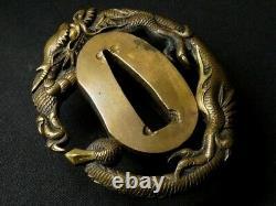 Edo period Japan antique brass Mito school Dragon tanto sword Tsuba rare katana