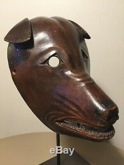 Exceptionally Rare Antique (1800s), Japanese/Japan, Wooden Kitsune (Fox) Mask