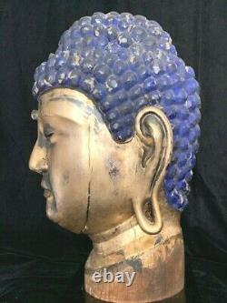 Extremely rare monumental Japanese gilt wood Buddha head with inset crystal 19th