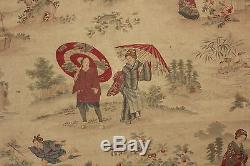 Fabric Antique French Japonisme material Japanese influcence toile design RARE