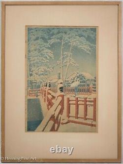 Hasui Kawase Snow at Yakumo Bridge at Nagata Shrine Japanese Woodblock, Rare