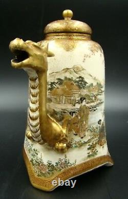 Highest Quality Japanese Meiji Satsuma Dragon Teapot Gold Signature Ultra Rare