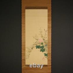 Hp092 Japanese RARE hanging scroll KAKEJIKU Autumn Flowers by Nagai Ikka