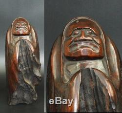 JAPANESE Dharma WOOD SINGLE WOODEN RARE ART ANTIQUE DARUMA FROM Japan 414m