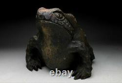 JAPANESE Frog Ornament RARE ART From Japan ANTIQUE Old toad Bamboo d777