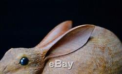 JAPANESE Rabbit Ornament WOODEN RARE ART RARE WOOD Japan Old ASIAN 188m