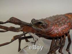 Japan Antique Jizai netsuke statue spiny lobster Movable type rare