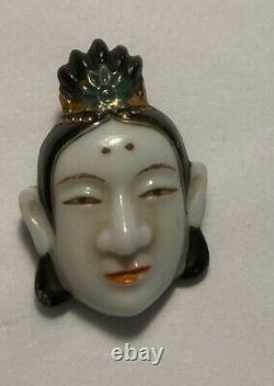 Japan Japanese Emperor Glass Face Button Collectable RARE Antique Handpainted