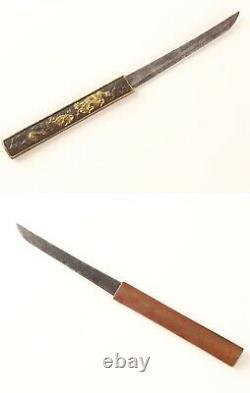 Japan antique Dragon Crowd Sword Kozuka Copper tsuba katana menuki rare