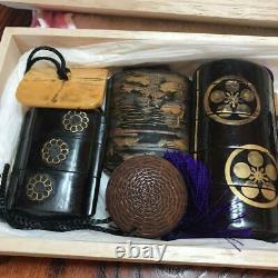 Japanese Antique Inro Inrou Pillbox Traditional Vintage Rare Collectible F/s