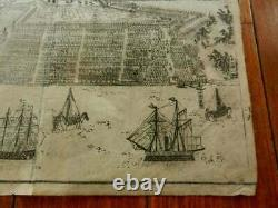 Japanese Antique Map and View of Yokohama, 1861, Rare Early Woodblock Print