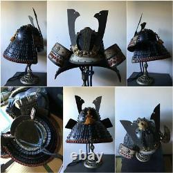 Japanese Antique Samurai Armor Yoroi Kabuto with Wooden Box Vintage Rare Japan