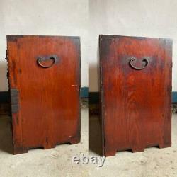 Japanese Chest Safe Box Antique Storage EDO Era Vintage Wood Rare