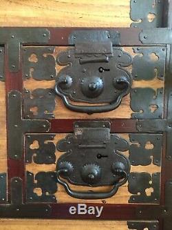 Japanese Clothing Chest Interior Cabinet 1800s Shinano dansu Rare