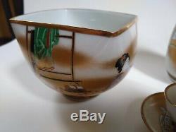 Japanese KUTANI Pottery Shunga Makura-e 5 Sake Cup Set SAKAZUKI Japan Box Rare