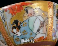 Japanese KUTANI Pottery Shunga Makura-e Sake Cup SAKAZUKI Japan Super Rare item